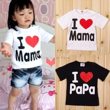 baby clothes love mom and dad boys and girls summer T-shirt 95% cotton short-sleeve T-shirt 1-3 years old free postage(China (Mainland))