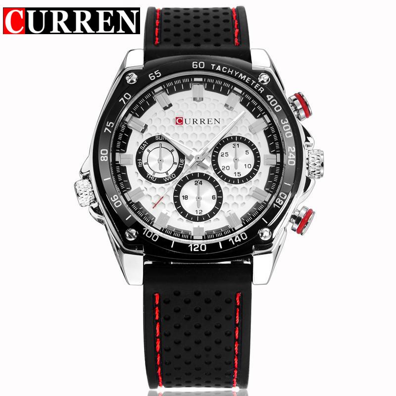 Curren Luxury Brand Silicone Strap Watches Analog Date Men 39 S Quartz Watch Casual Watch Men