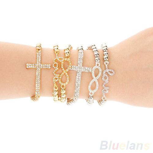 Hot Fashion Women's Crystal Rhinestone Cross Love Infinity Stretch Beaded bracelets & bangles Gift 05B5(China (Mainland))