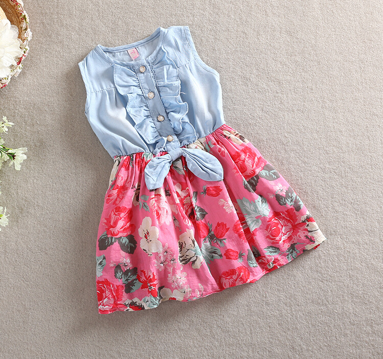 Wholesale-Summer Kids Girls soft denim Floral Summer Dresses Baby girl fashion princess lovely tutu sleeveless dress<br><br>Aliexpress