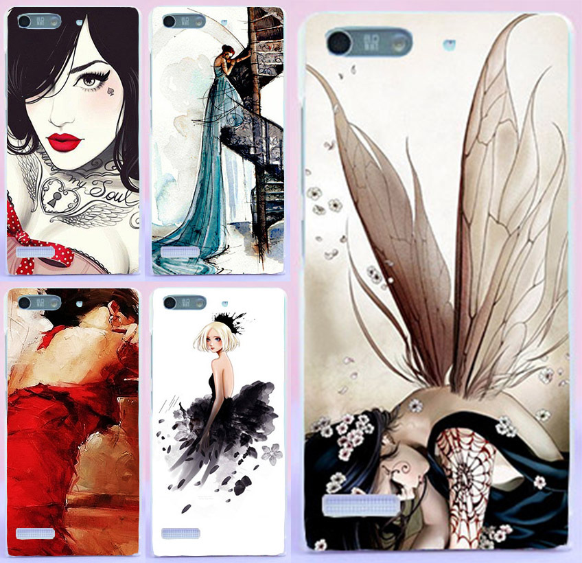 (Only For 3G Version) Sexy Girl Romantic Elegant Wings Angel Girl cell phone case For Huawei Ascend G6 P6 Mini Cover shell hood(China (Mainland))