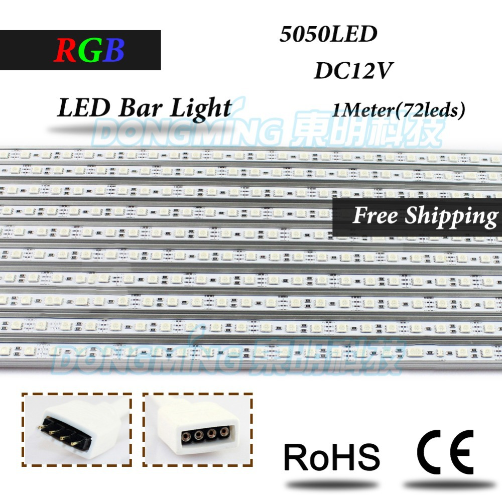 U/V Aluminium Profile smd 5050 LED rigid Strip RGB 100cm 72leds DC 12V led bar light under cabinet light for kitchen wardrobe(China (Mainland))