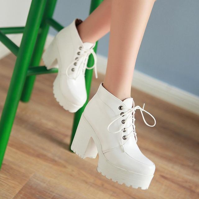 Осень и весна женщины сапоги панк Rock шнуровка платформа высокие каблуки до щиколотки сапоги толстый пятки платформа обувь большой большой размер
