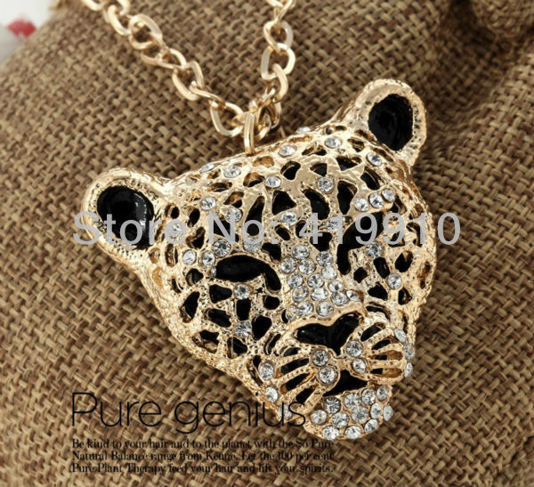 Free shipping-2PCs Fashion Rhinestone Leopard Tiger Head Sweater Chain Necklace M01201(China (Mainland))