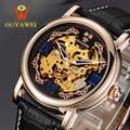 Men Wristwatches Skeleton Male Clock Leather Steampunk GOLD Casual Watches Automatic Mechanical Watch self wind Wrist