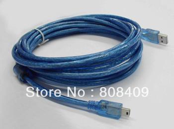 5M USB data cable  Transparent blue USB AM to Mini5P Cable