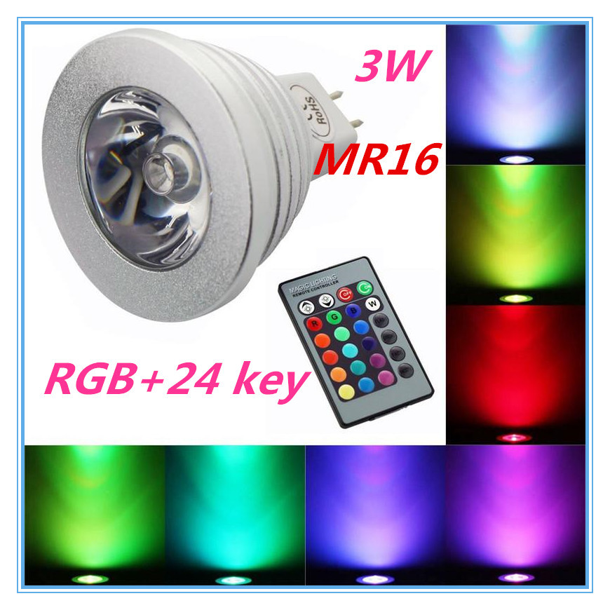 MR16 RGB spotlights RGB Lamp LED 3W 16 Color Changing Lamp Light Bulb +24 Key IR Remote Control(China (Mainland))