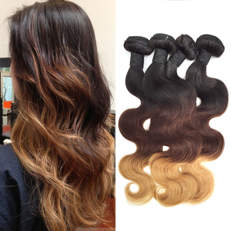 Cheap 6A Brazilian Virgin Hair Body Wave Ombre Hair Extensions 1b/4/27 three tone Unprocessed Remy Ombre Human Hair weaves 3pcs