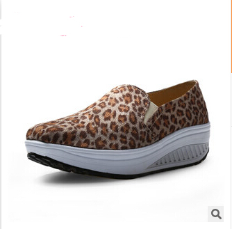 women wedge casual shoes leopard 2016 female leopard slip on canvas lose weight shoes(China (Mainland))