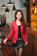 2016 New Fashion Spring Autumn Women Faux Soft Leather Jacket Pu Black Wine Red Zippers Pachwork Long Sleeve Motorcycle Coat(China (Mainland))