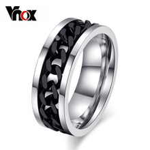 Fashion Spinner Black Chain Ring For Men Punk Titanium Steel Metal Vnox Brand Finger Anel(China (Mainland))