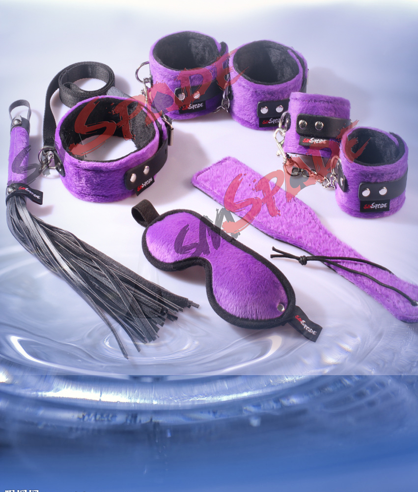 5% off fun novelty 6pcs velvet  restraint kit soft sex toys  purple hand cuffs, ankle cuffs, blindfold,collar for couples<br><br>Aliexpress