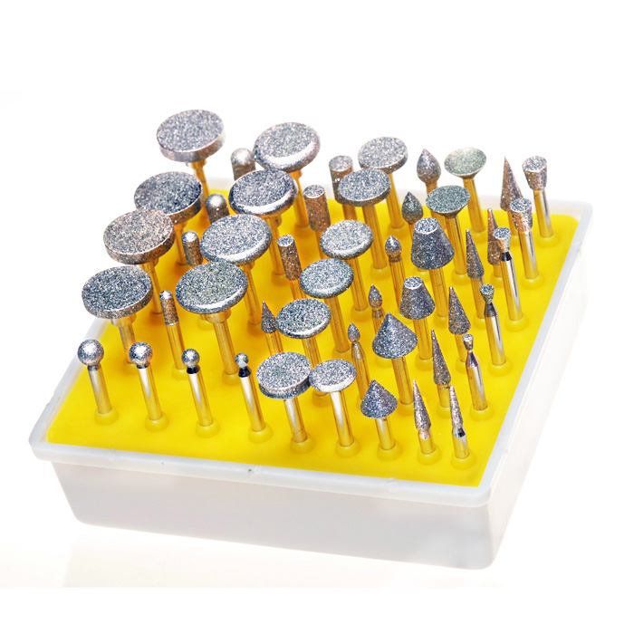 Hot Selling 50PCS Diamond Coated Rotary Grinding Head Burr Set Grit 1/8 Inch Shank Tile Glass Rotary Tools(China (Mainland))