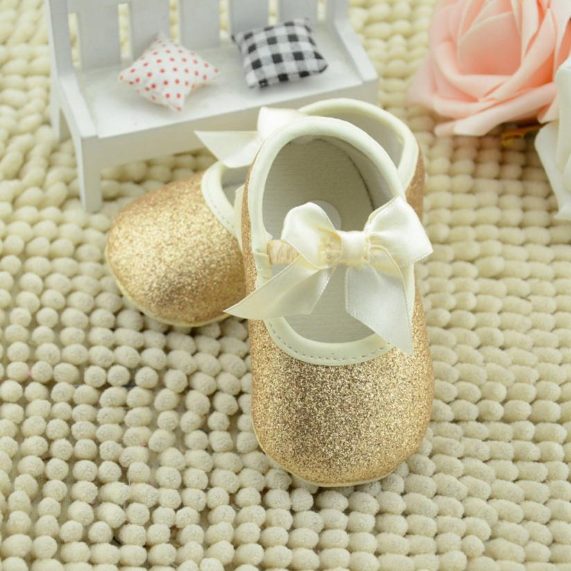Glitter Baby Shoes Flash Gold Bow Soft Bottom Sneaker Anti-slip Soft Sole Toddler #2415