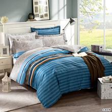blue Stripe bedding sets100% cotton (duvet cover+ bedding sheet+ pillowcase) twin full queen king bedsheet/bed linen(China (Mainland))
