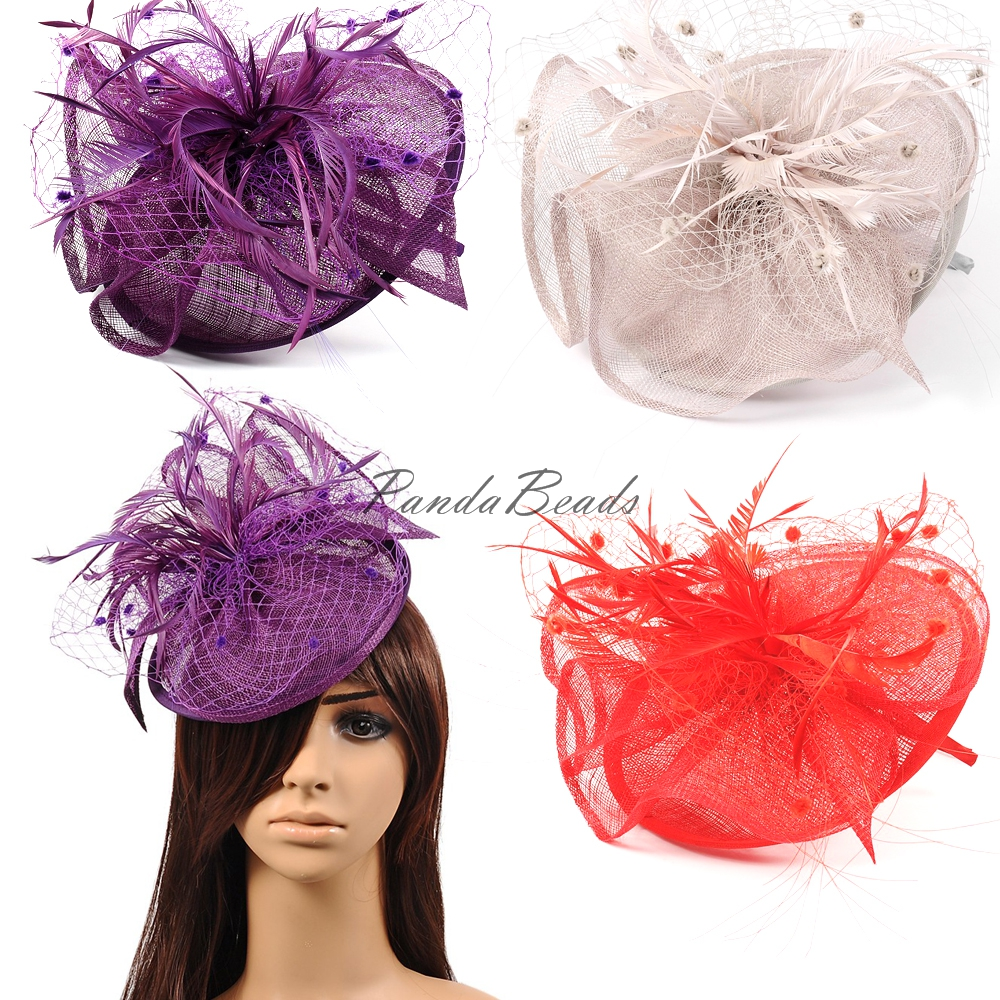 Elegant Weddings Fascinators UK for Flower Organza Feather Hats Women Party Hair Accessories Headband for Ladies White/Red/Black(China (Mainland))