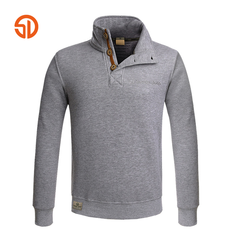 SD Brand Men's Casual Hoodies Banded Collar Top Grade Sweatshirt Rib Sleeve Cotton Tracksuit For Men Outdoor Sport Outerwear(China (Mainland))