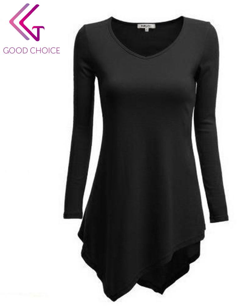 Гаджет  High quality 2015 new women t-shirt long sleeve v-neck Irregular shirt Korean fashion street T-shirts free shipping B78 None Одежда и аксессуары
