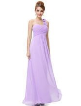 Cheap Long Evening Dresses Flowers One Shoulder Chiffon Padded Masala Red Women EP09768 Empire Waist Party Gown(China (Mainland))