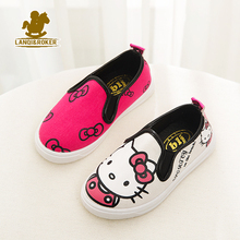 Autumn New Children Cartoon Canvas Shoes Spring Boys Girls Hello Kitty Flats Sneakers 4 Designers Kids Breathable Shoes 21-36(China (Mainland))