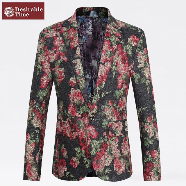 2016 мода цветочный блейзер Большой размер м-5xl новые дизайнерские мужчины тонкой ...