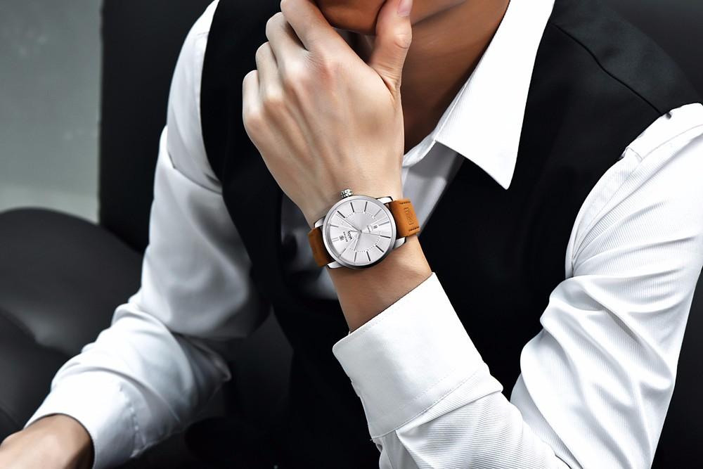Высокое Качество Натуральная Кожа Мужчины Спортивные Часы Люксовый Бренд Бизнес Водонепроницаемый Кварцевые Часы Мужчины Повседневная Наручные Часы