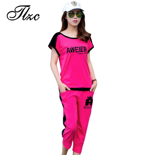 Tlzc лето леди комплект одежды письмо картины большого размера L-4XL корейский стиль ...