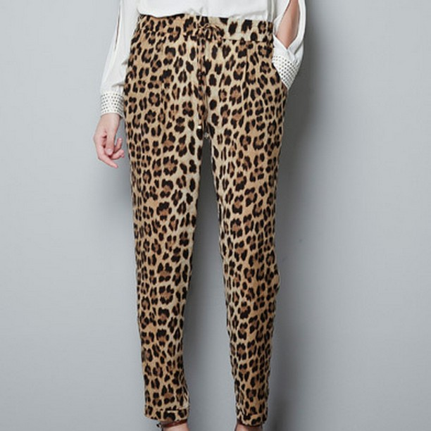 New Fashion womens' Leopard print pants elegant slim look loose trousers casual leisure brand designer pants 4078(China (Mainland))
