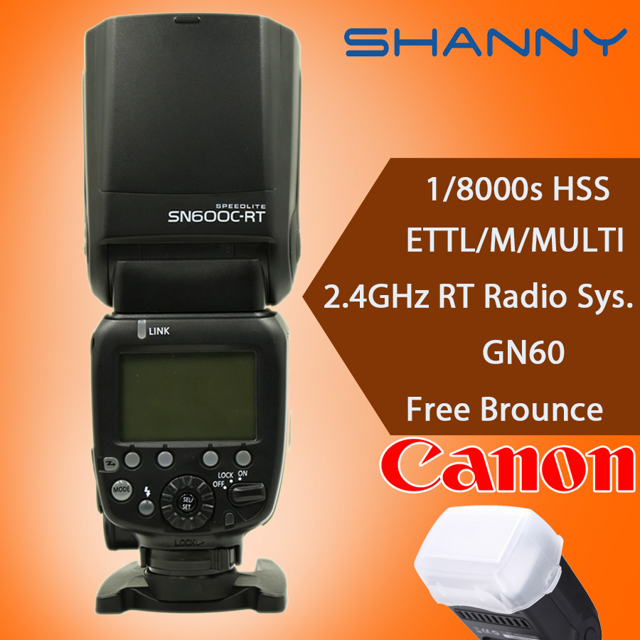 Вспышка для фотокамеры SHANNY sn600c/RT 2.4g Speedlite HSS 1/8000s TTL GN60 Canon RT st/e3/RT SN600C-RT yn e3 rt ttl radio trigger speedlite transmitter as st e3 rt for canon 600ex rt new arrival