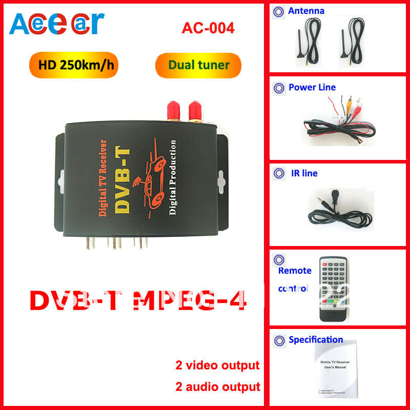 Car dvbt digital tv tuner Receiver of MPEG4 car dvbt Compatible with SD MPEG2 and HD MPEG4 perfectly with dual tuner(China (Mainland))