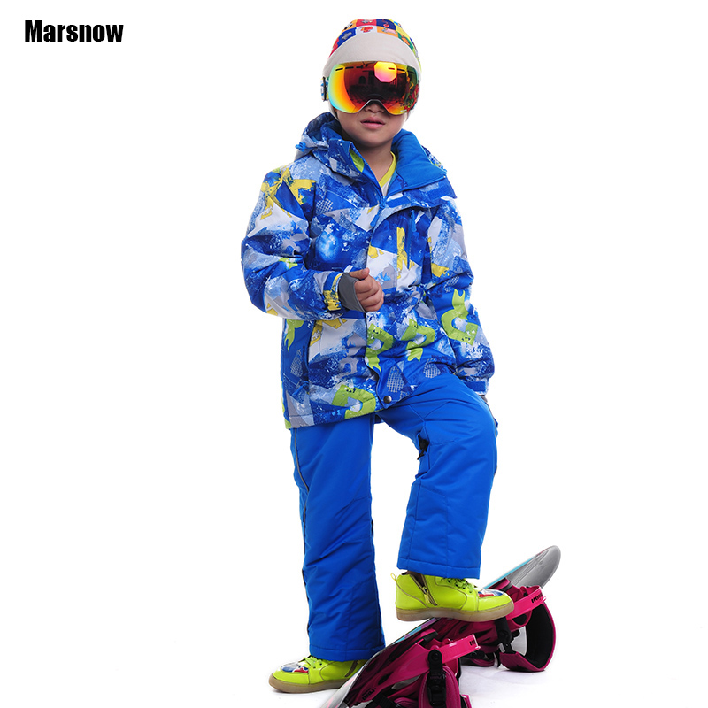 110-164 Russia Children's winter clothing set Baby sport windproof warm coats Jacket sand pants dropshipping ski suit for boy(China (Mainland))