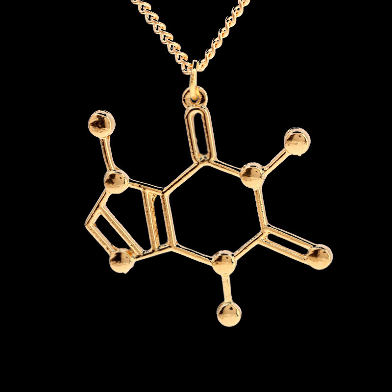 New Design Caffeine Necklace Chemical Molecules Structure Pendant Necklaces Elegant Long Geometric Necklace For WomenJN676(China (Mainland))