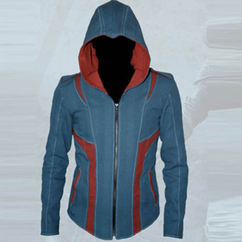 assassins creed 3 costume assassins creed Conner Kenway coplay costume for men blue Jacket Hoodie Coat Hoody plus size custom