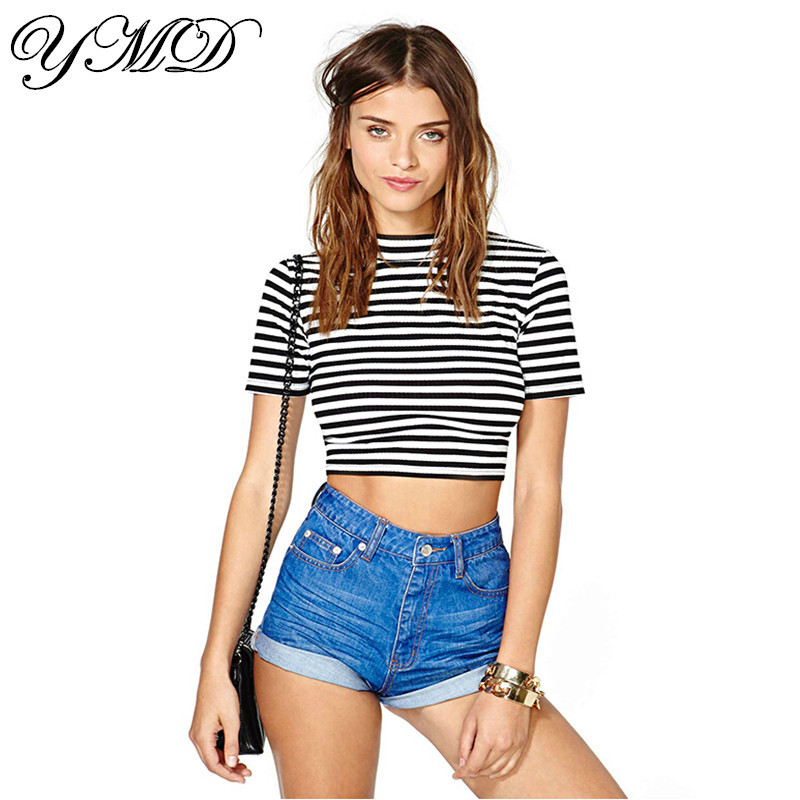 Black-and-white-striped-brand-t-shirt-casual-crop-top-women-s-clothing-top-selling-womens.jpg
