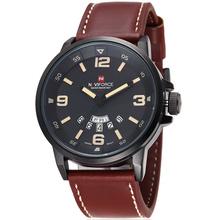 Naviforce nuevo reloj de hombre genuino visualización analógica correa de cuero con fecha día hombres reloj de cuarzo ocasional reloj relogio masculino