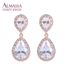 Almassa Classic Elegant Bridal Earrings Drop Rose Gold Plated AAA Teardrop Cubic Zirconia Diamond Earrings For Wedding Party(China (Mainland))