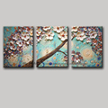 3 piece wall art flower pictures acrylic decorative hand painted decoraion painting Modern abstract tree oil