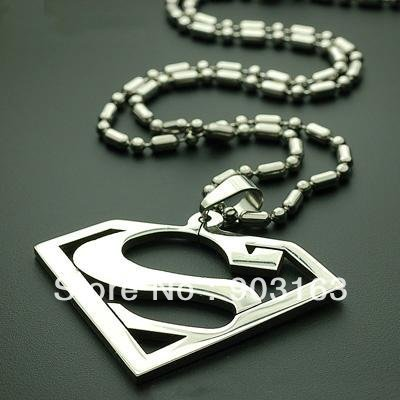 1pcs best selling New Arrival stainless Steel Superman Pendant free Chain Gift + free shipping