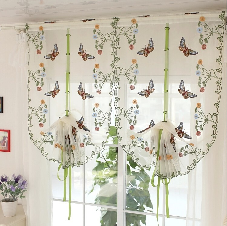 Rustic butterfly over flowers design curtain short sheer curtain panel for hotel home cafe house decoration(China (Mainland))