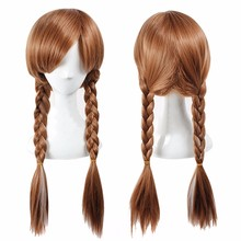 FR0ZEN Long Braided 70CM Synthetic Wig Heat Resistant Brown Ponytail Weave Head Hair Women Wigs Adult Princess Anna Cosplay(China (Mainland))
