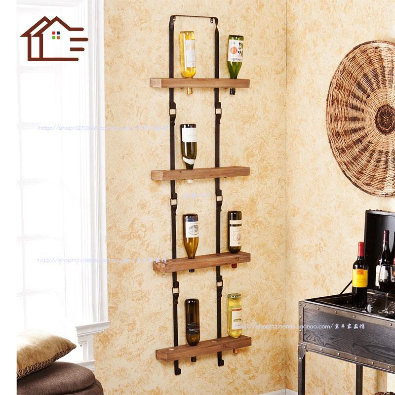 european retro iron wood wine rack creative wall hanging. Black Bedroom Furniture Sets. Home Design Ideas
