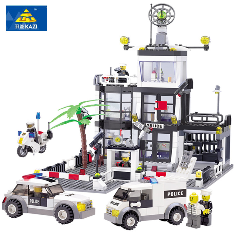 KAZI 6725 631PCS Police Station Building Blocks Bricks Educational Toys Compatible famous brand City Truck Car Kids Toys(China (Mainland))