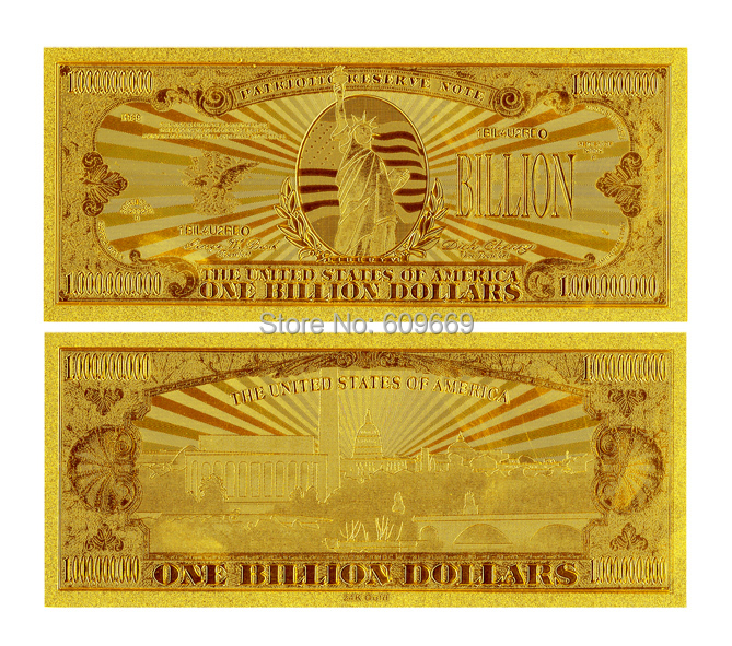 Decorative Art American Bill $1 Billion Dollar Gold Bank Notes For Home And Office Decoration(China (Mainland))