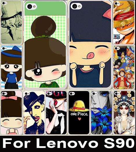 Cute Cartoon Little Girl Hat Women Pattern Painting Case Colored Drawing Hard Plastic For Lenovo S90 Cell Phone Cover(China (Mainland))