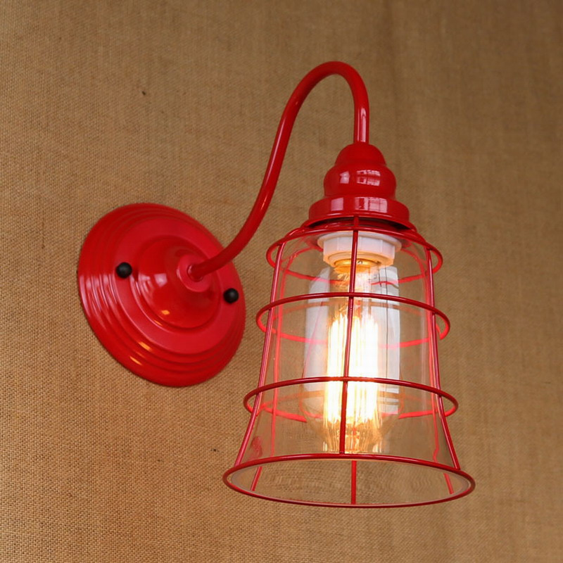 Red Wall Lamp Shades : Replica designer fashional style mini red colour glass shade Wall Light lamp Sconce Lamp porch ...