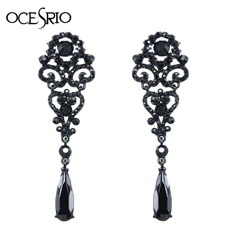 Crystal Dangle Earrings Big Long Earrings for Women Silver Wedding Rhinestone Earrings Diamond-Jewelry Women Dresses ers-h37<br><br>Aliexpress