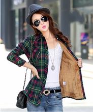 Hot New Women's Winter Blouses Casual Long Sleeve Plaid Flannel Shirt Flannel Tops Blusa Femininas M L XL XXL Winter Blouse(China (Mainland))