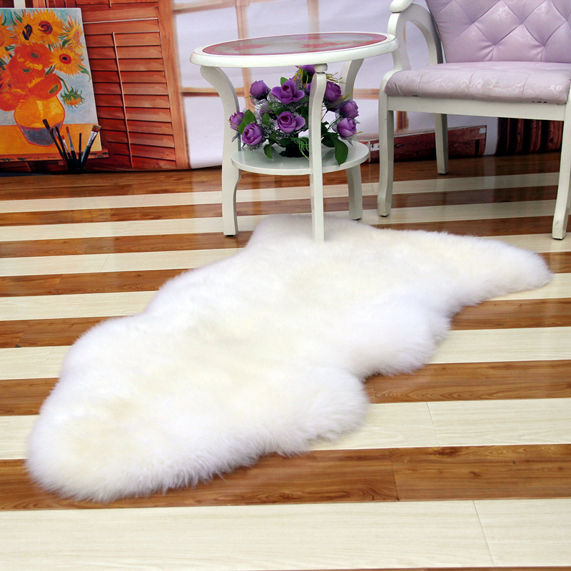Soft Hairy Artificial Carpet Sheepskin Chair Cover Seat Pad Plain Skin Fur Plain Fluffy Area Rugs Washable Bedroom Faux Mat(China (Mainland))