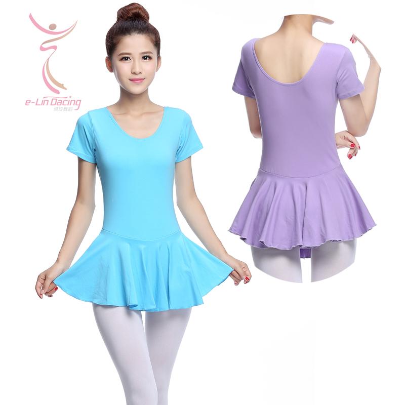 Adult Ballet Dance Leotard One-piece Dress Female Short-Sleeve Ballet Tutu Dress for Ballet Dancer Women(China (Mainland))