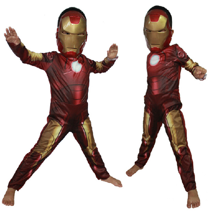 1set Children cosplay supplies Iron man costume with mask stretchy party clothes ,clothing for kids(China (Mainland))